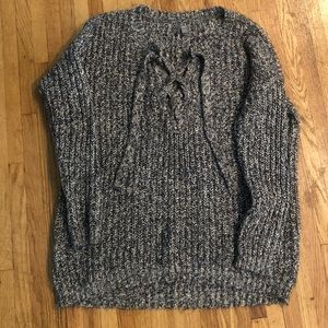 Aerie Grey Knit Sweater w/ Lace Up Neckline